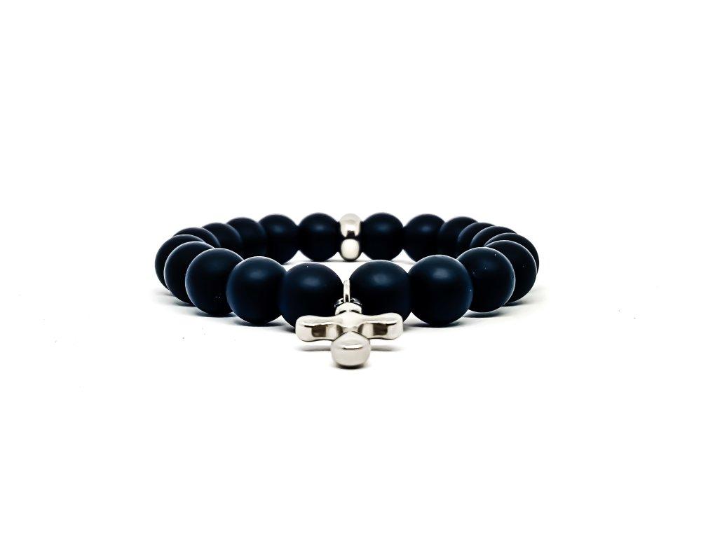 Bracelet Homme/Femme Croix en acier inoxydable et pierres naturelles d'Onyx mât