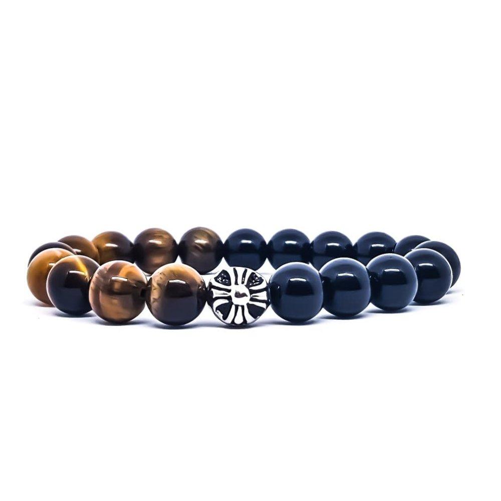 Bracelet Homme/Femme en pierres naturelles d'Oeil de tigre et Onyx