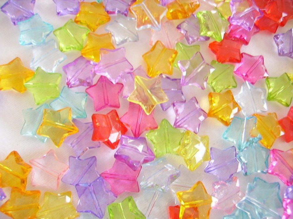Lot De 20 Perles étoile Acrylique Plastique Transparent Couleur En Mélange Aléatoire Un Grand Marché