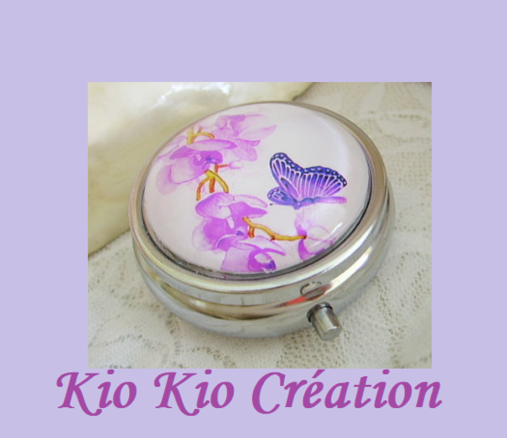 Boite à pilule,pilulier,rond 48 mm,compartimentée,cabochon verre,motif papillon,métal argenté