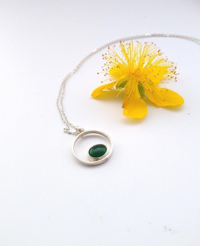 Pendentif rond quartz vert argent 925