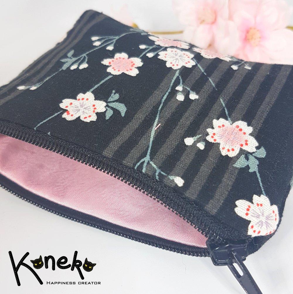 Porte-monnaie noir à motifs Sakura