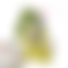 Doudou lapin  bonnet de lutin multicolore motif tic tac, tissus oeko tex .