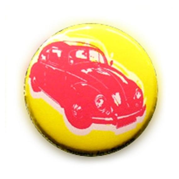 Badge RETROCOX CAR Rose fond Jaune acidulé Punk Rock vintage Ø25mm