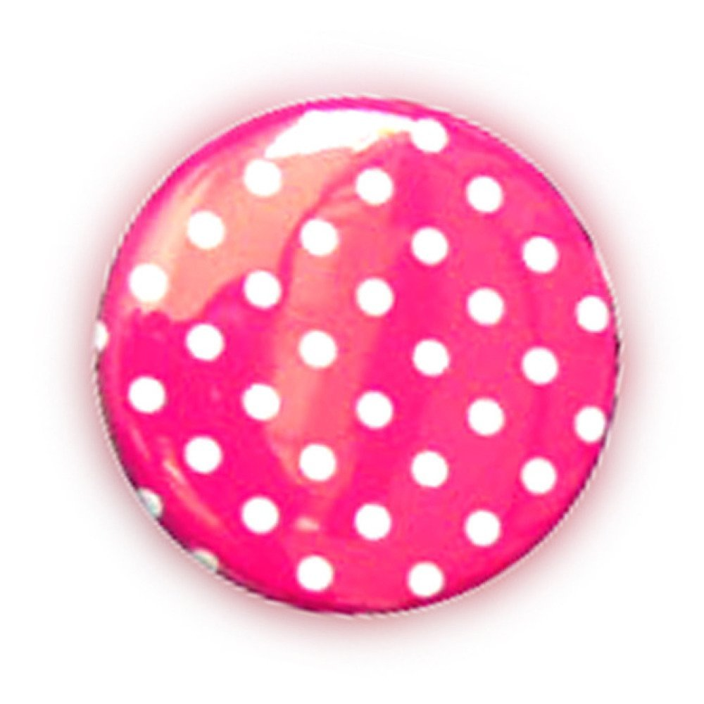 Badge A POIS Blanc fond ROSE Polka Dots Rockabilly Rock Ø25mm