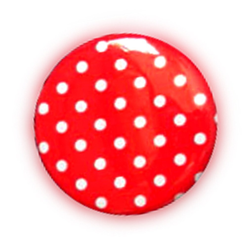 Badge A POIS Blanc fond ROUGE Polka Dots Rockabilly Rock Ø25mm