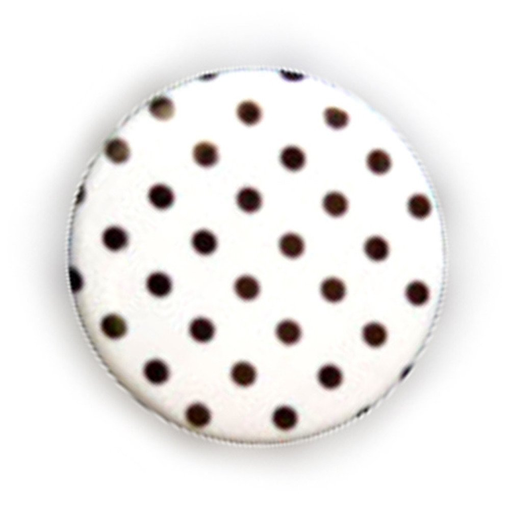 Badge A POIS Noir fond BLANC Polka Dots Rockabilly Rock Ø25mm