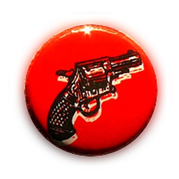 Badge REVOLVER COLT PISTOLET Noir/ROUGE Rockabilly Rock western Ø25mm