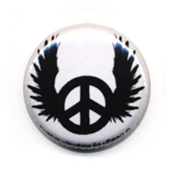 Badge PEACE ANGEL wings love Rock  Rockabilly Punk Biker Ø25mm