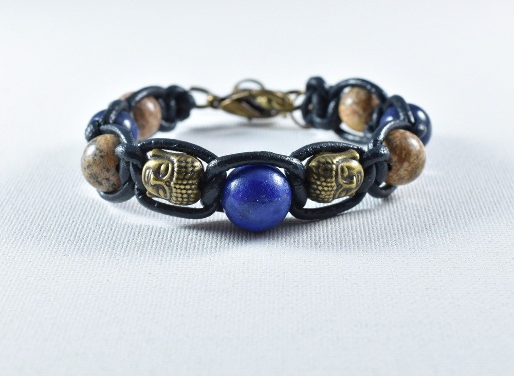 01-bracelet cuir lapis lazuli  bouddha jaspe paysage-breloque ohm-fermoir