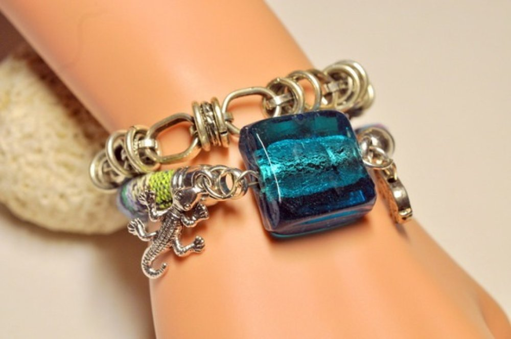 bracelet ethnique amérindien bleu turquoise-DESTOCKAGE 13.20€