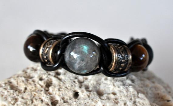 bracelet cuir labradorite 14mm HQ oeil de tigre  onyx mat-haut de gamme@kreapat