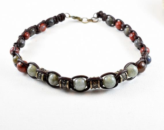 collier et bracelet cuir pour homme labradorite jaspes rouges-haute qualité@kreapat-cuir marron