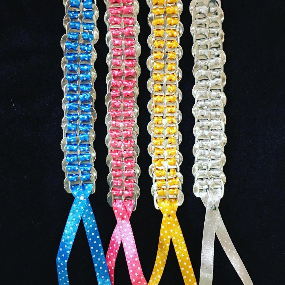 4 bracelets ruban satin et capsules de cannette