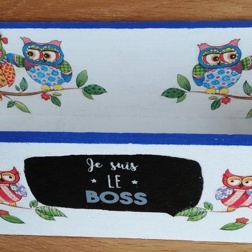 Casier de rangement ou vide poche blanc et bleu en bois motifs hiboux