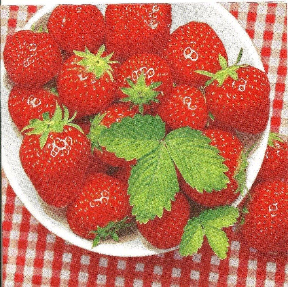 Serviette en papier pour loisir créatif, thème fraises, taille : 33 x 33 cm.