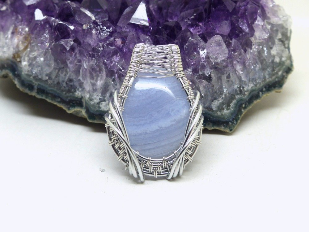 Pendentif agate dentelle bleu wire wrap, calcédoine, pierre agate dentelle bleue, bijoux fantaisie 3