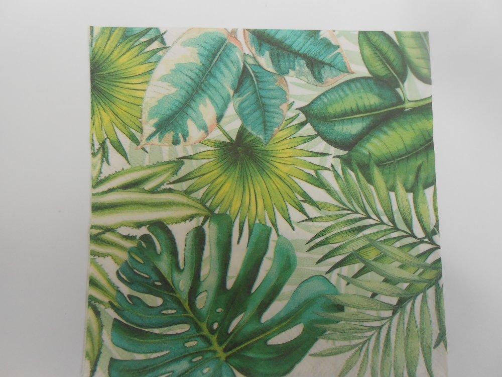 serviette en papier feuilles tropicales
