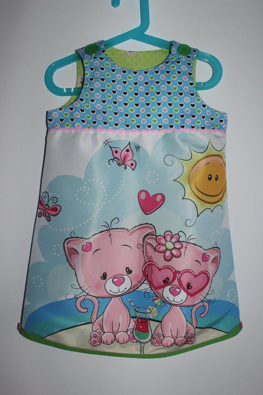 """Mignonne petite robe """"Petits chats à la plage"""" T 3/4 ans"""