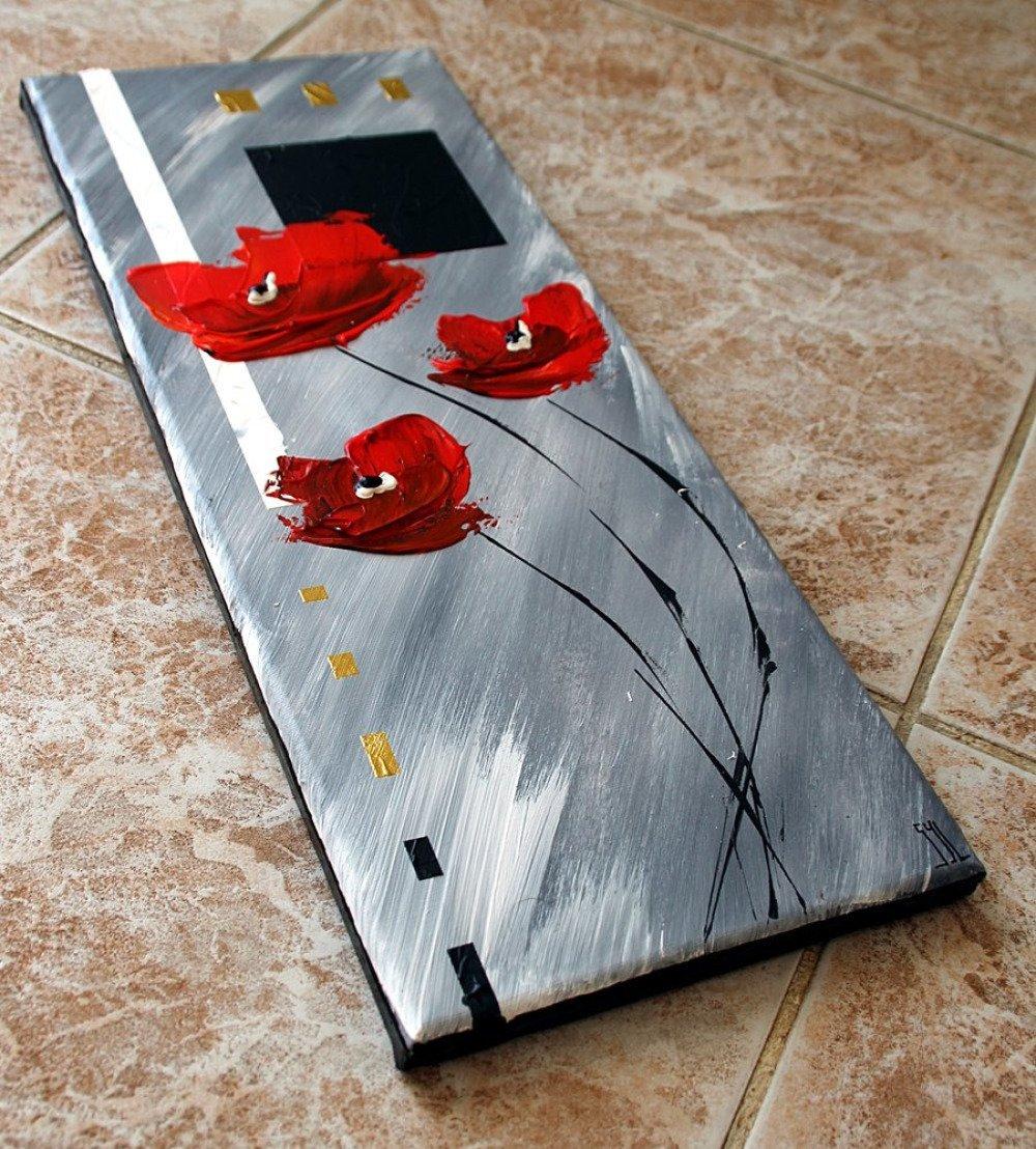 tableau peinture au couteau coquelicots