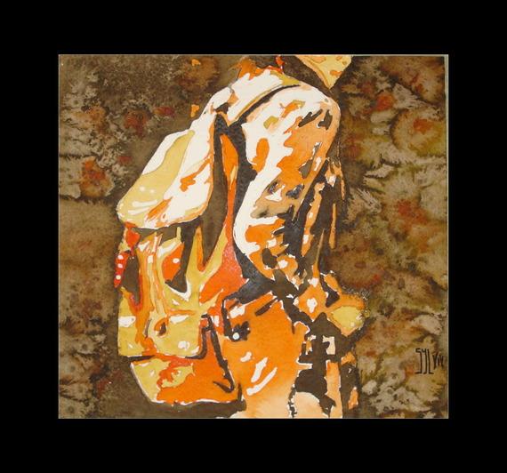 Sac à dos et chemine à carreaux    Aquarelle 40 x 40 cm  sur papier Leonardo de Hahnemuehle 600 grs