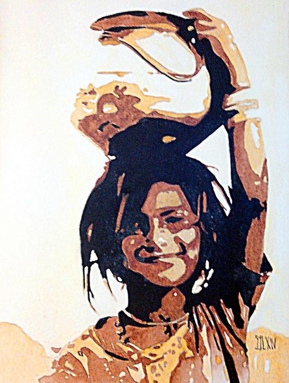 Aquarelle l'enfant porteur d'eau Aquarelle sur papier Leonardo de Hahnemuehle 600 grs