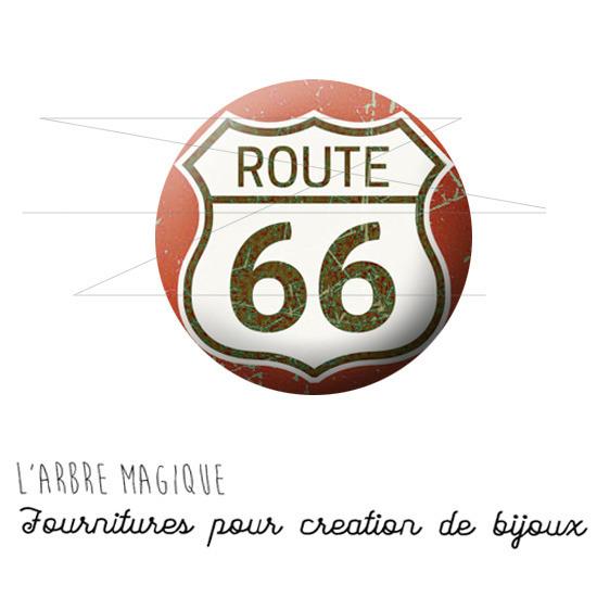 2 Cabochons à coller Route 66 USA rouge ref 1557  -  en verre 14 mm -