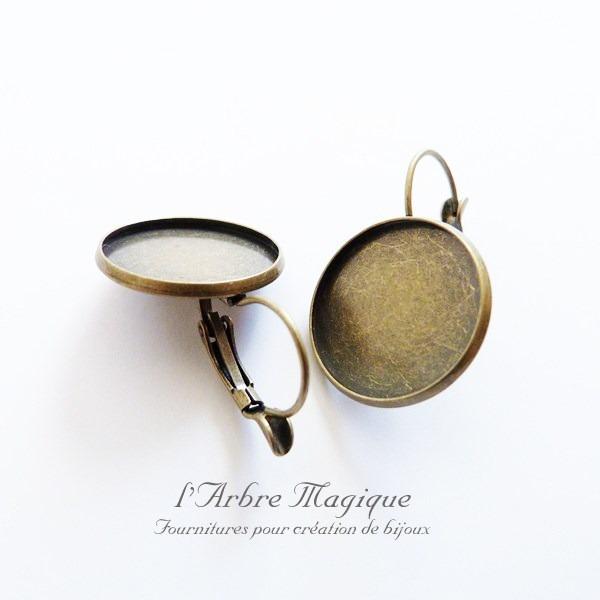 1 paire de supports boucles d'oreille dormeuse à cabochon 16 mm bronze