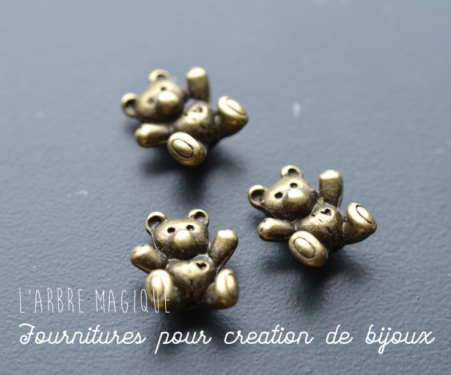 """1 perle métal bronze fantaisie """"Petit Ourson"""" 14x12 mm"""