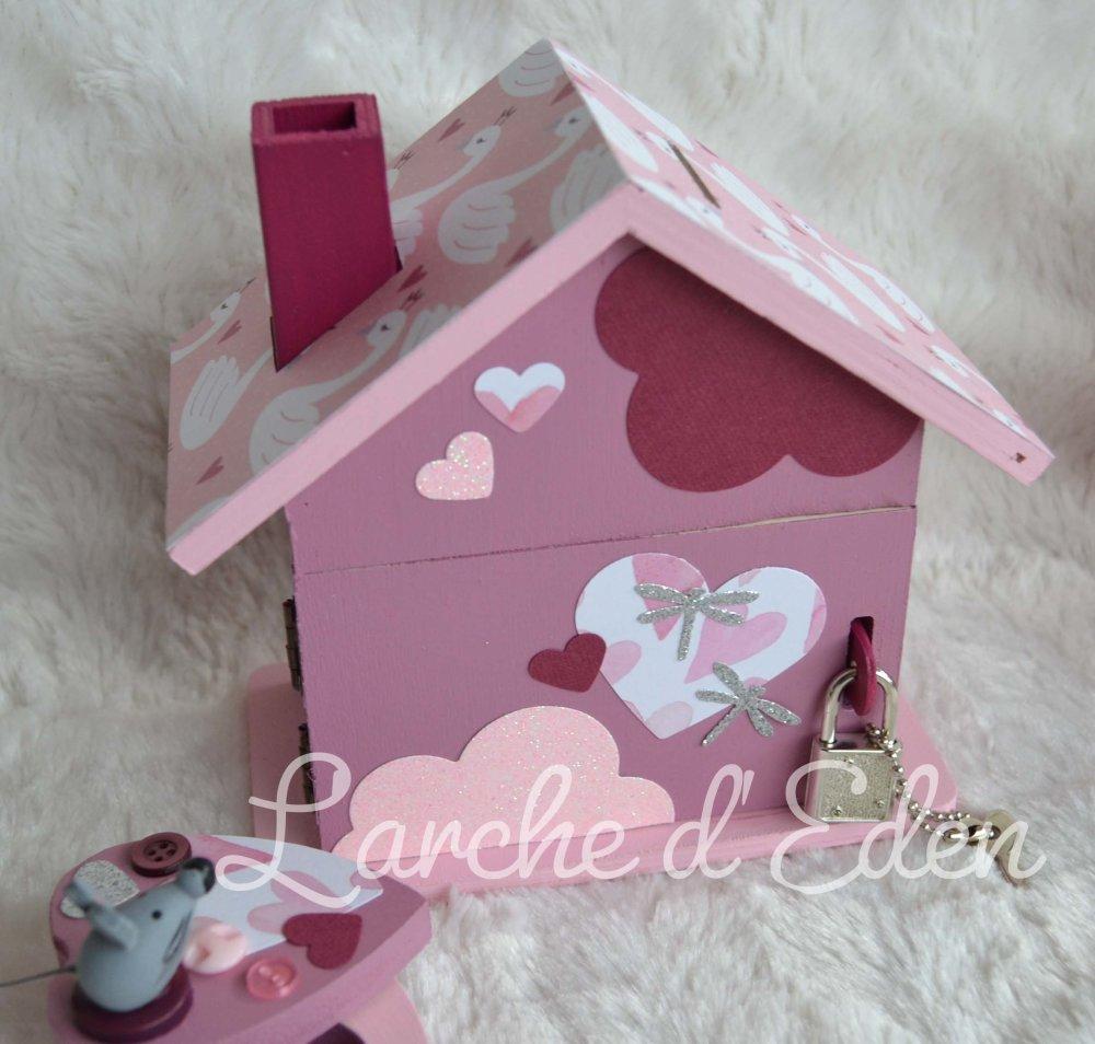 Tirelire maison, tirelire enfant, boite à dents, cadeau naissance, décoration cygne