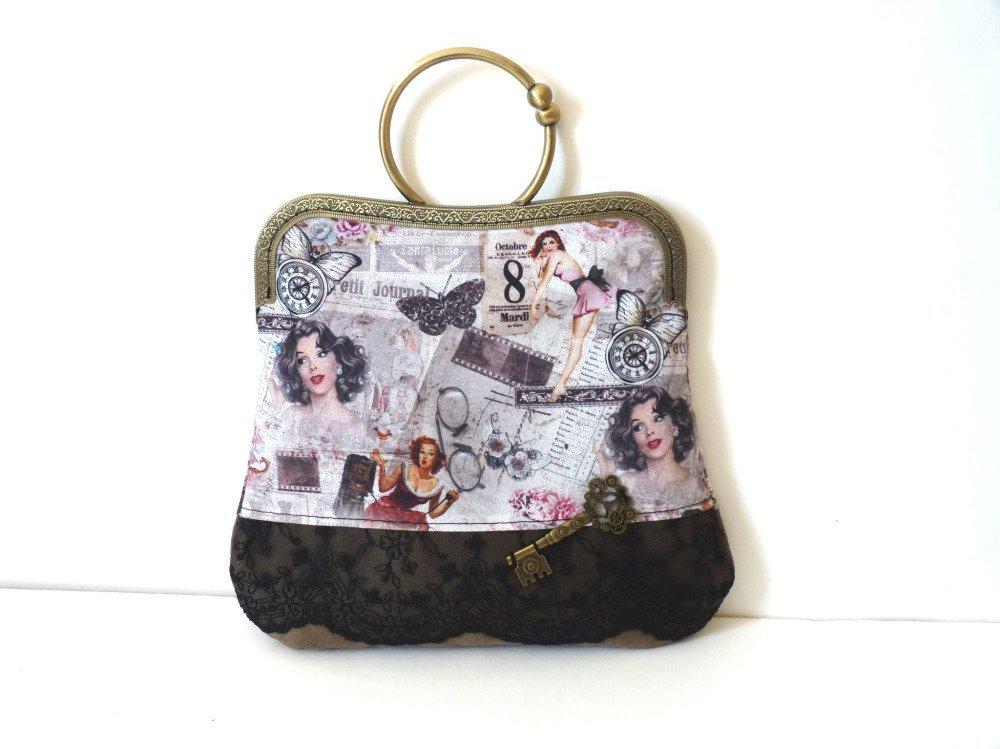 Pochette sac à main fermoir pin up steampunk rétro romantique suédine dentelle mariage soirées chics fait main l'arche de jessica
