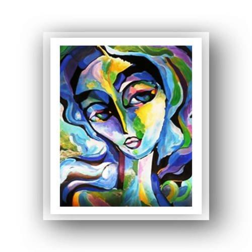 """"""" les bleus du coeur """" peinture moderne, acrylique sur papier grain 'toilé'"""