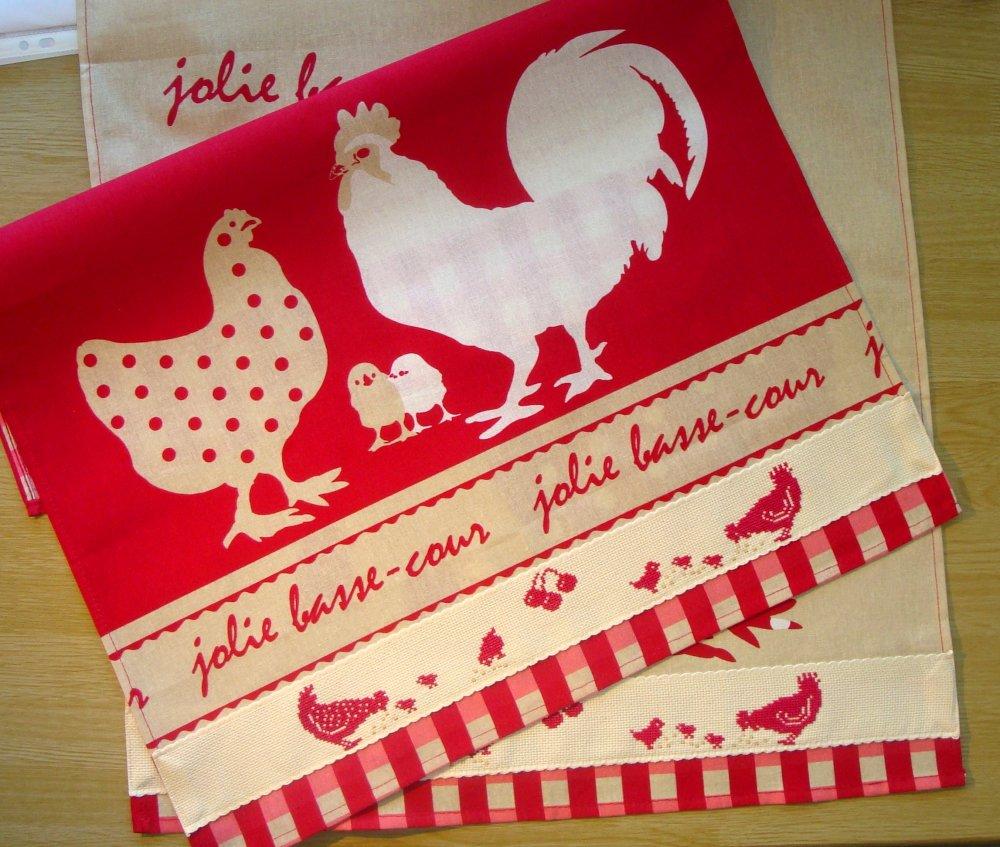 Torchon de cuisine avec poule rouge et coq brodé, 16% coton, brodé au  point de croix / poussins / rouge / beige / sur commande