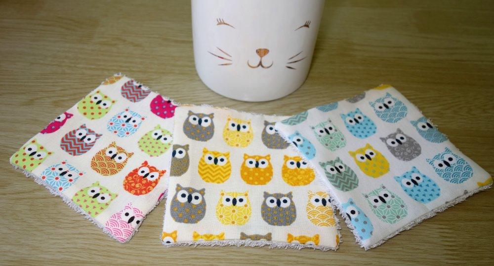 Lingettes démaquillantes lavables en coton et éponge de bambou / Vendue à l'unité / Femme ou bébé / Chouettes jaunes