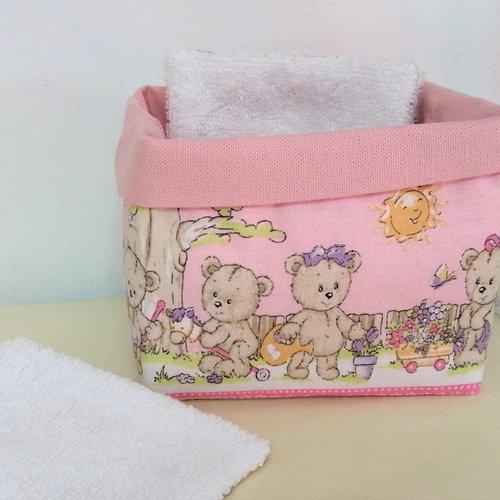 Panière ours joueurs pour lingettes lavables / chambre de bébé / décoration salle de bains / oursons / chambre bébé fille