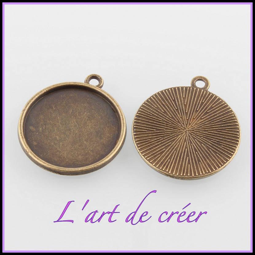 10 support cabochon rond couleur bronze - pour cabochon 20 mm
