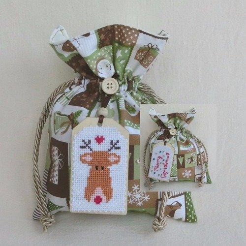 3 X Renne Cadeau De Noel Etiquettes Decorations Cadeau Fait Main En Bois Or Rouge