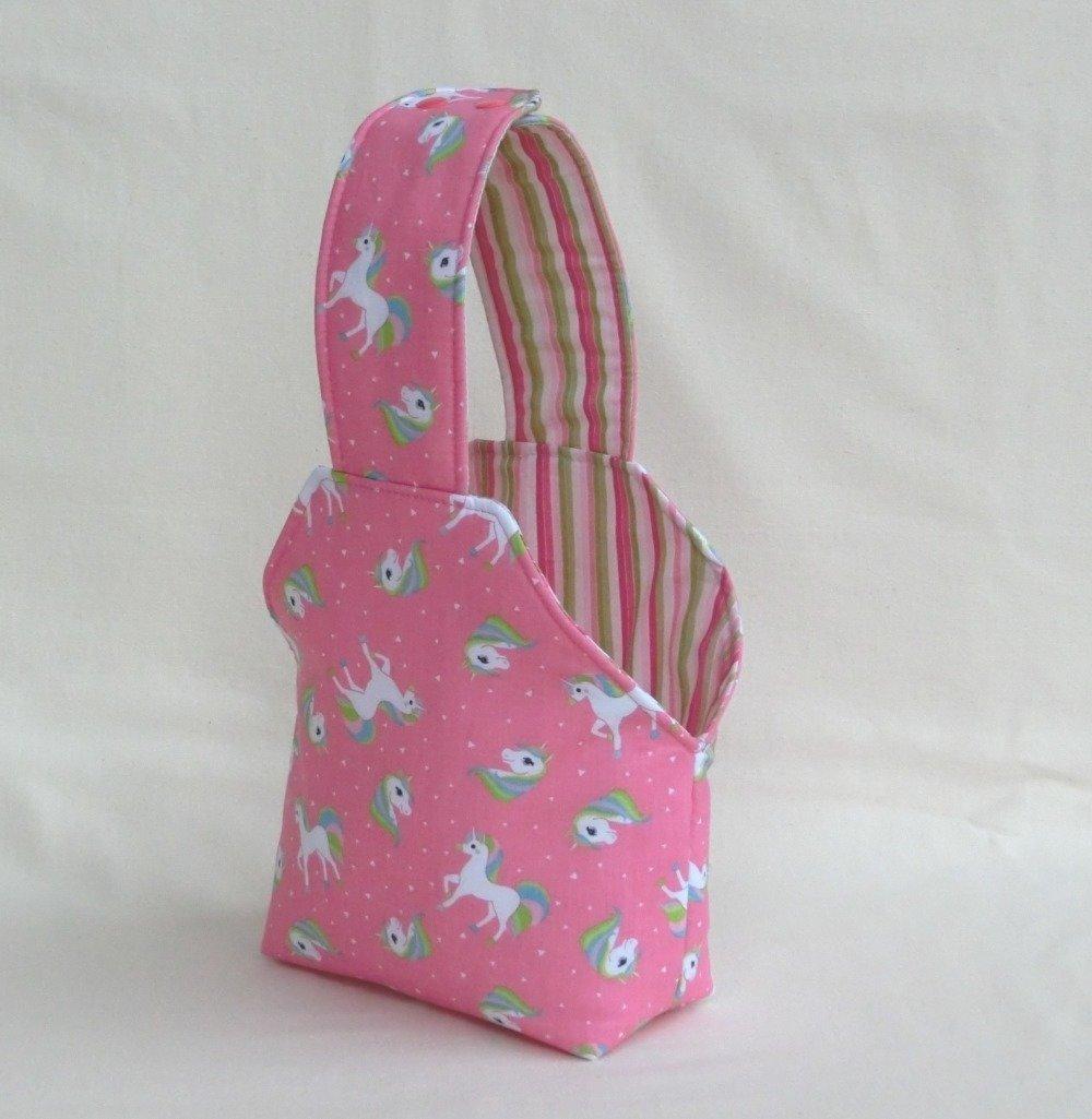 Sac à main Fille, Tissu Coton Licorne Rose, Panier de Rangement, Sac Cabas à goûter, Cadeau Anniversaire Enfant