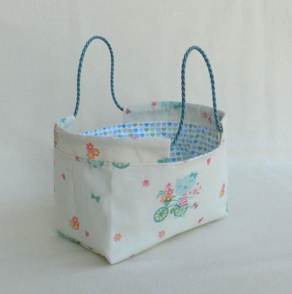 Panière de rangement, Corbeille en tissu Chat, Panier à bijoux, Accessoire Décoration chambre Enfant ou Bébé