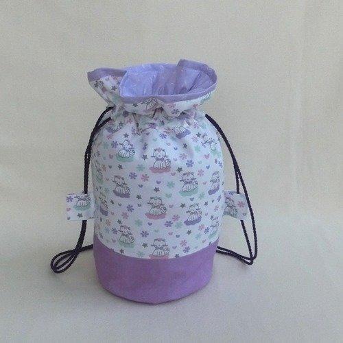 Sac pochon baluchon, tissu chat / chaton, rangement accessoire petit linge cadeau maman bébé enfant fille naissance