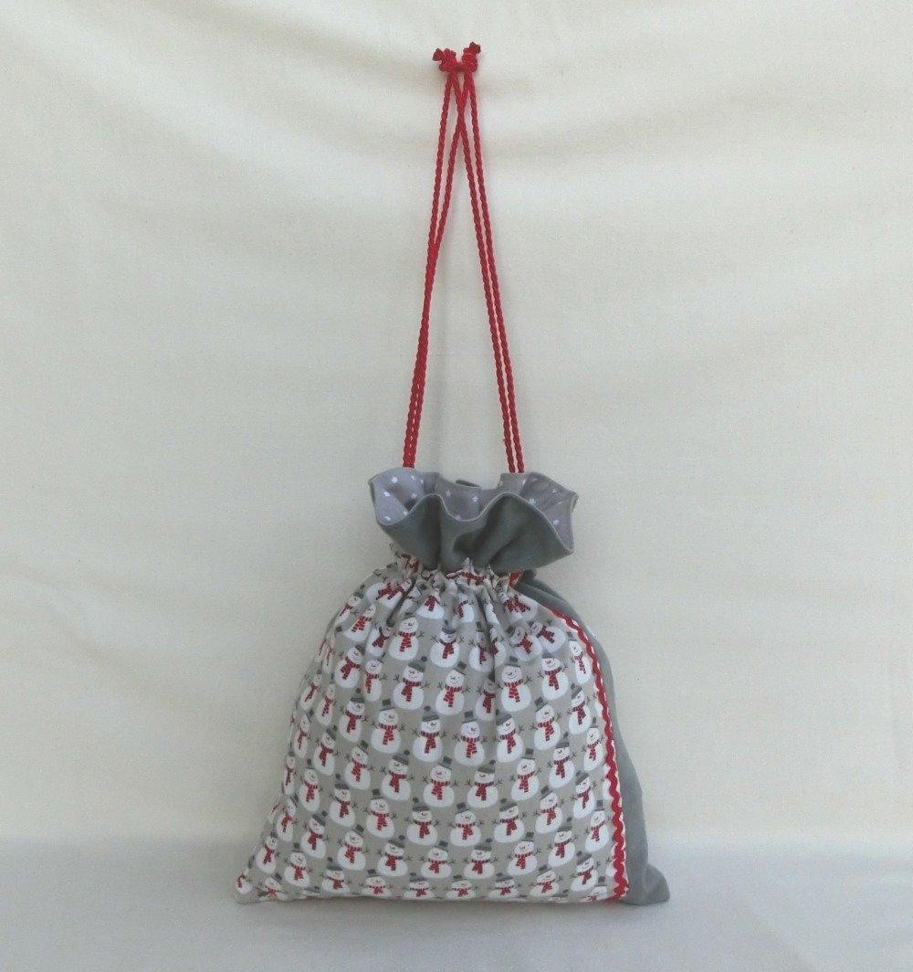 Sac Pochon, Pochette Emballage pour Cadeau, Tissu Bonhomme de neige, Accessoire de Fête de Noël ou Étrennes