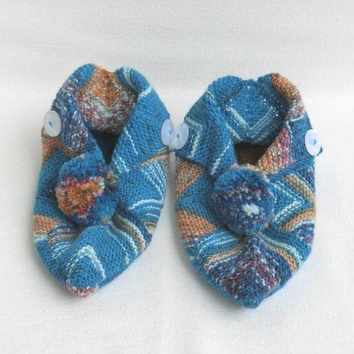 Chaussons de confort d'intérieur femme, taille 38 / 39, pantoufles à pompons en laine, tricoté main, cadeau saint valentin