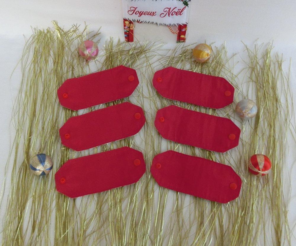 Rond De Serviette Noel Fait Maison lot de 6 ronds de serviette de table, décoration accessoire de fête pour  noël ou nouvel an, tissu coton noël bonhomme de neige