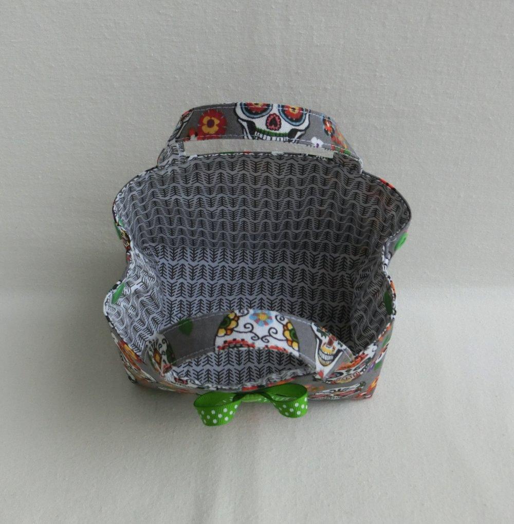 Sac à bonbons d' Halloween, Tissu Coton Tête de mort, Sac à main pour Enfant Fille, Panier de Décoration de table de Fête