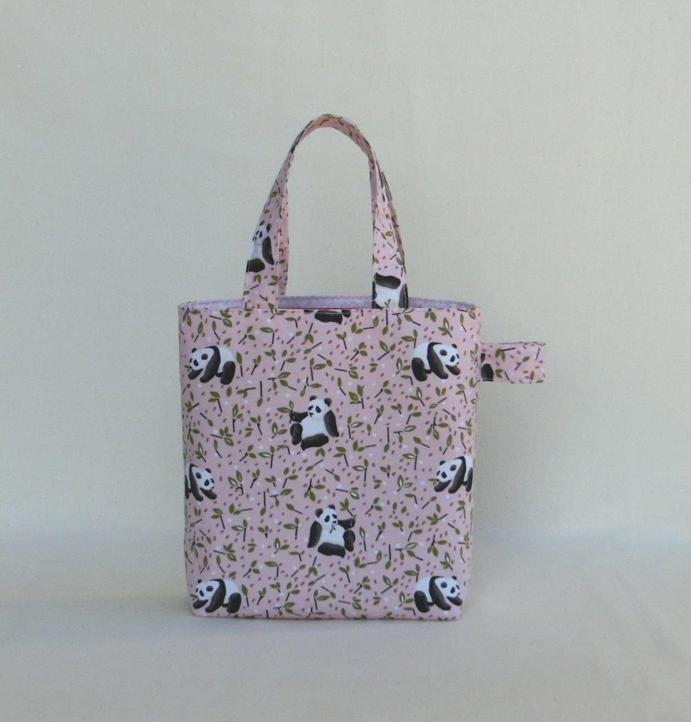 VENDU.. Sac Tote Bag Enfant Fille jusque 5 ans, Tissu Coton Panda, Cabas à goûter ou Doudou, Sac shopping de marché,  Idée Cadeau