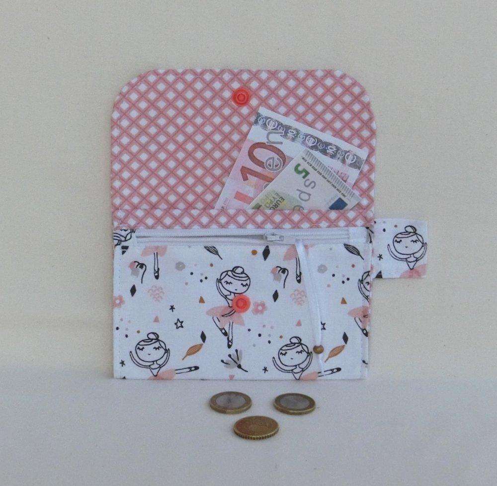 Porte monnaie fermeture zippée avec poche, Tissu Danseuse étoile, Porte carte ou Document, Cadeau Enfant Fille Pâques
