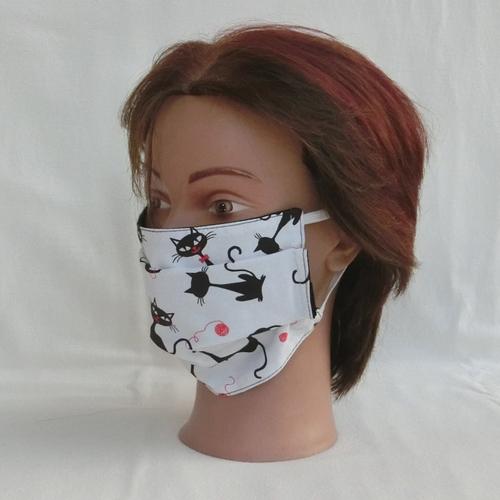 * masque visage réutilisable lavable tissu chat noir, masque facial de protection selon recommandation afnor, adulte adolescente