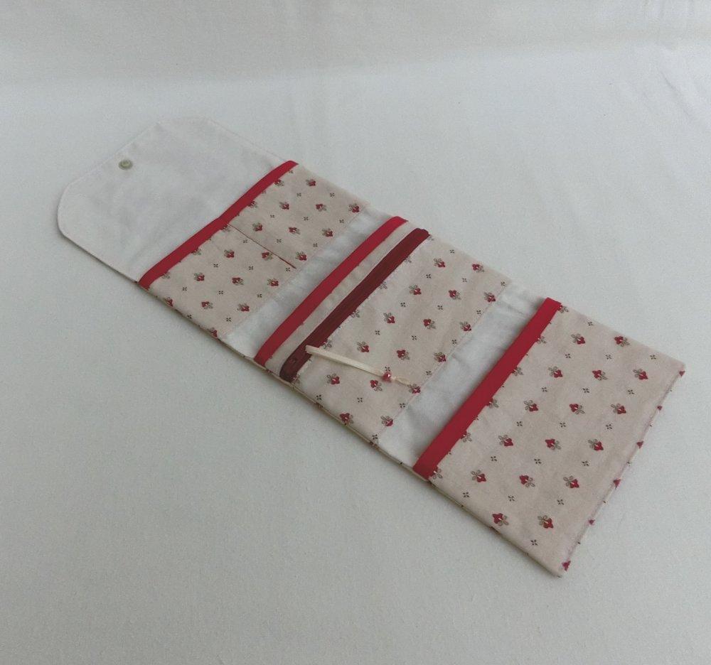 Porte monnaie zippé, Portefeuille Tissu fleur style provençal, étui à Document et carte, Cadeau Femme ou Fille