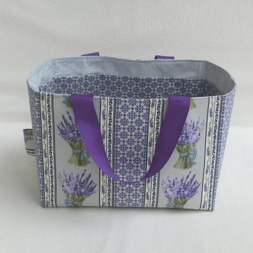 * vendu..panier de rangement multi-poches, panière accessoire salle de bain ou chambre, tissu provençal lavande, cadeau femme