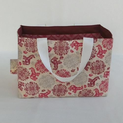Panier de rangement multi-poches, panière pour  accessoire, tissu inspiration orientale éléphant, cadeau noël femme
